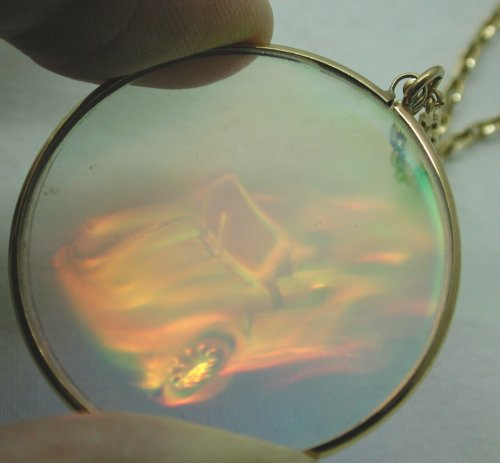 Vintage most unusual large glass car hologram pendant on 9ct gold vintage most unusual large glass car hologram pendant on 9ct gold chain ebay mozeypictures Image collections