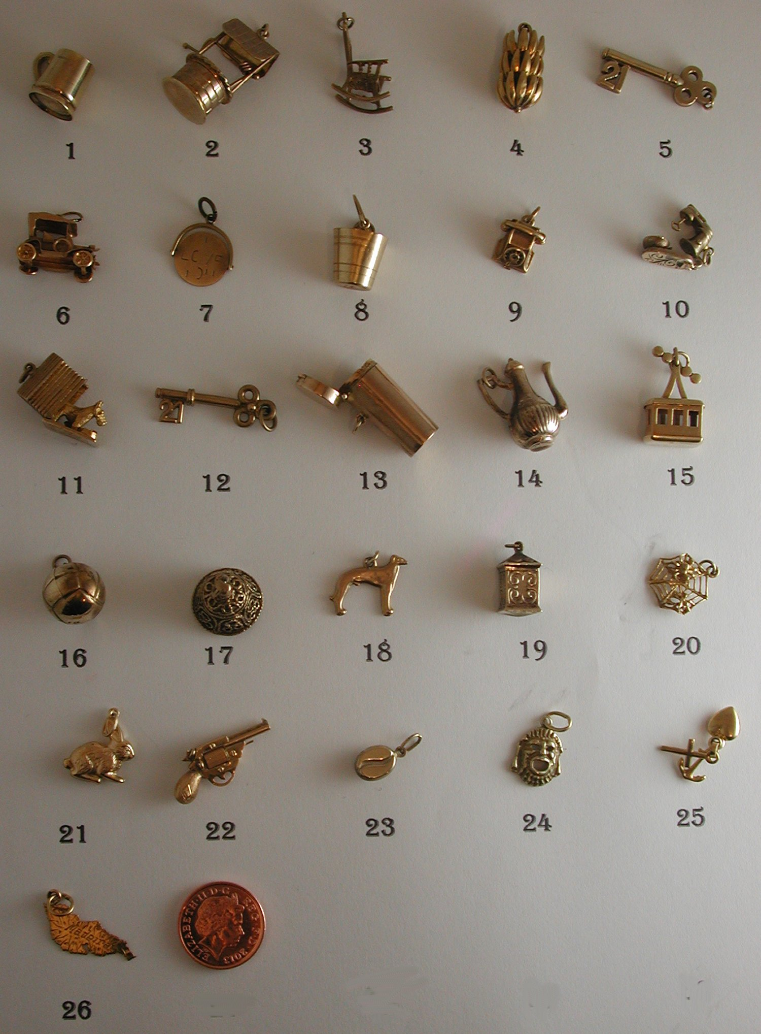 Vintage and Antique Interesting 9ct Gold Charms For Bracelets or